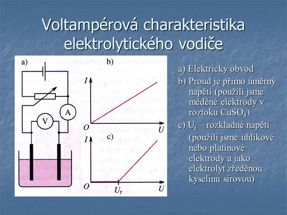 Voltampérová charakteristika elektrolytického vodiče a) Elektrický obvod b) Proud je přímo úměrný napětí (použili jsme měděné elektrody v roztoku CuSO 4 ) c) U r – rozkladné napětí (použili jsme uhlíkové nebo platinové elektrody a jako elektrolyt zředěnou kyselinu sírovou)
