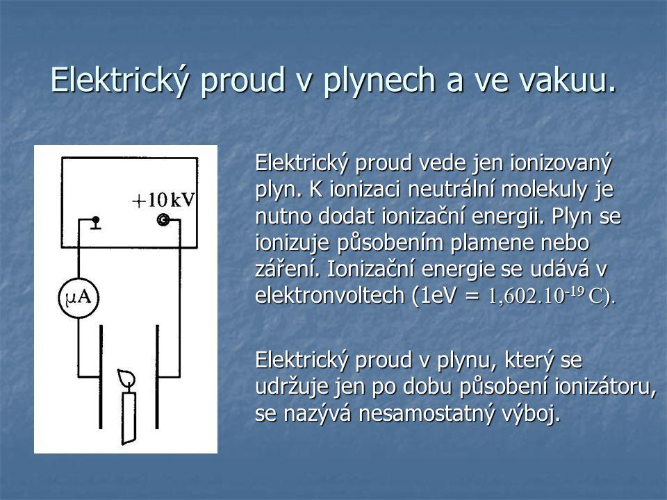 Elektrický proud v plynech a ve vakuu.Elektrický proud vede jen ionizovaný plyn.