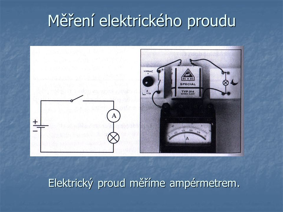Měření elektrického proudu Elektrický proud měříme ampérmetrem.
