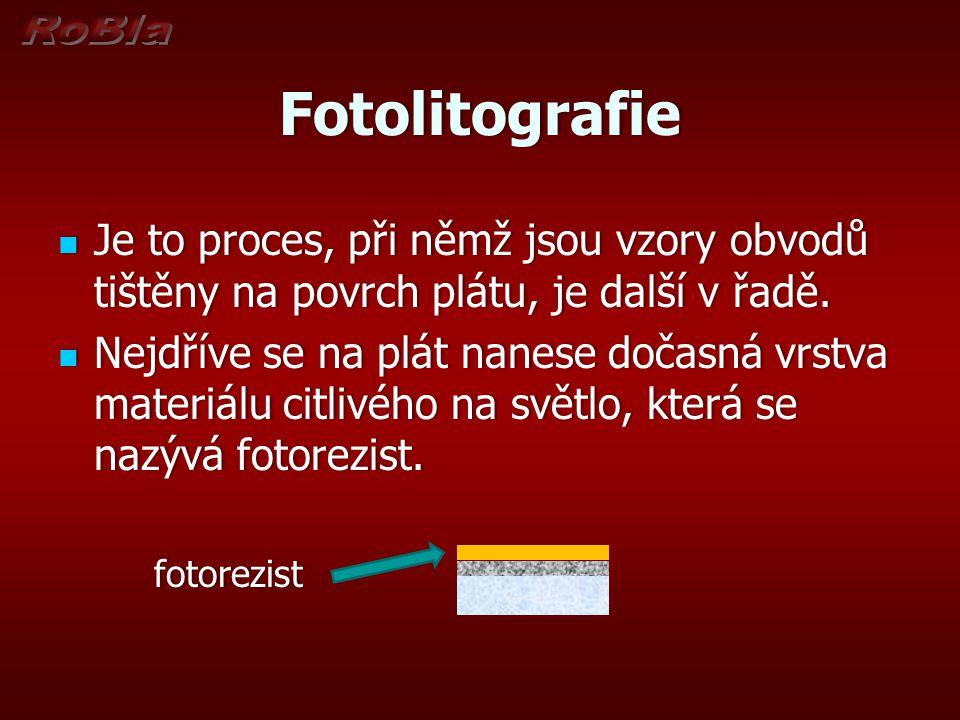 Fotolitografie Je to proces, při němž jsou vzory obvodů tištěny na povrch plátu, je další v řadě. Je to proces, při němž jsou vzory obvodů tištěny na