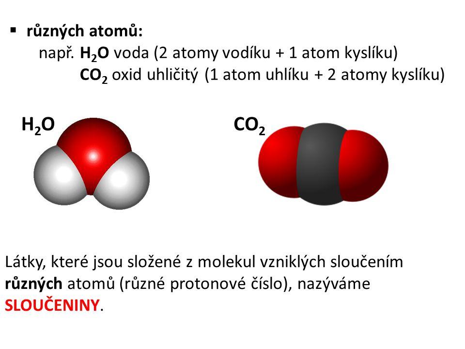  různých atomů: např. H 2 O voda (2 atomy vodíku + 1 atom kyslíku) CO 2 oxid uhličitý (1 atom uhlíku + 2 atomy kyslíku) H2OH2OCO 2 Látky, které jsou
