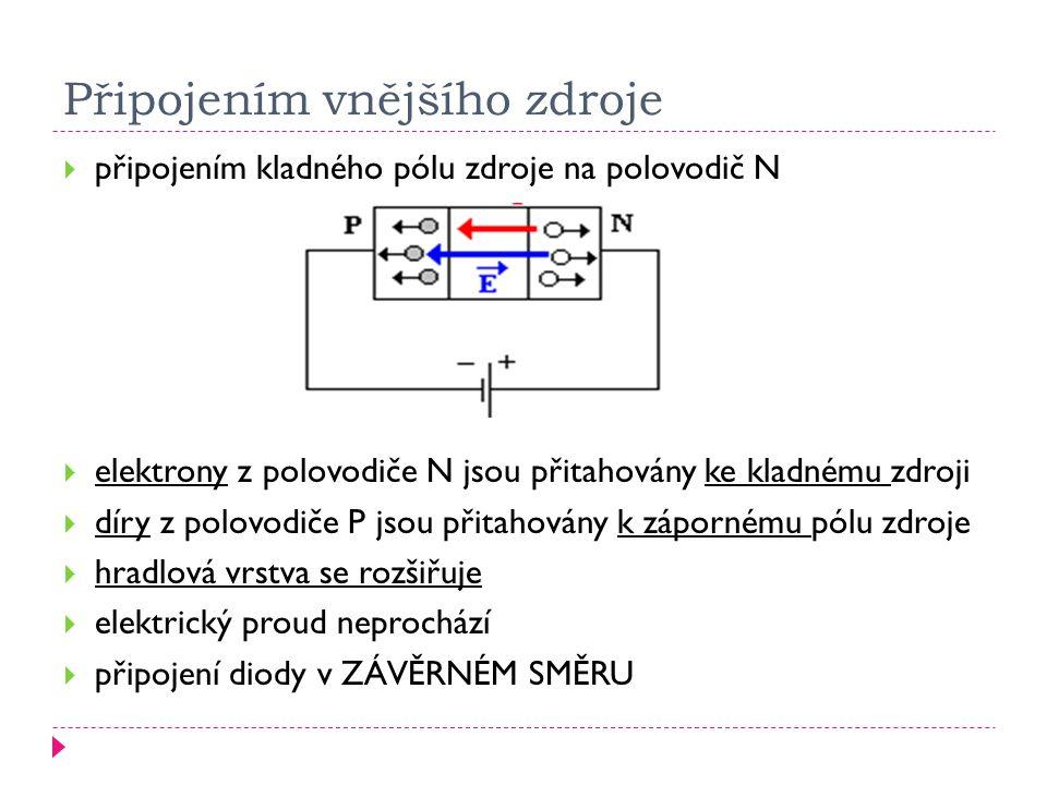  připojením kladného pólu zdroje na polovodič typu P  elektrony z polovodiče N jsou přitahovány ke kladnému zdroji  díry z polovodiče P jsou přitahovány k zápornému pólu zdroje  hradlová vrstva se zeslabuje  protéká elektrický proud  dioda je připojena v PROPUSTNÉM SMĚRU