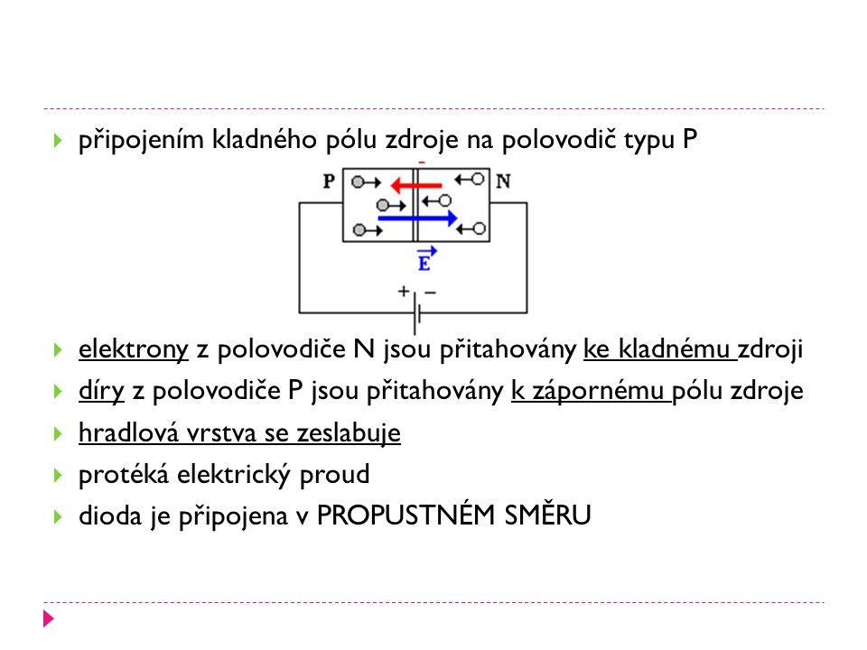  připojením kladného pólu zdroje na polovodič typu P  elektrony z polovodiče N jsou přitahovány ke kladnému zdroji  díry z polovodiče P jsou přitah