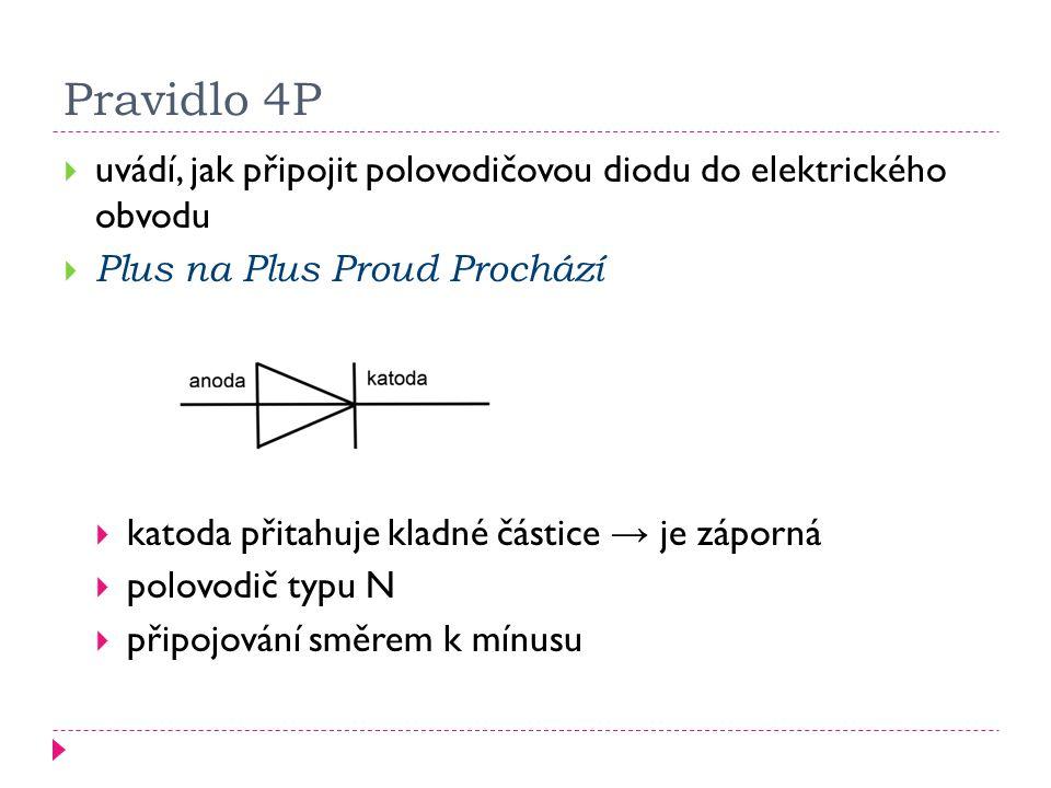 Pravidlo 4P  uvádí, jak připojit polovodičovou diodu do elektrického obvodu  Plus na Plus Proud Prochází  katoda přitahuje kladné částice → je zápo