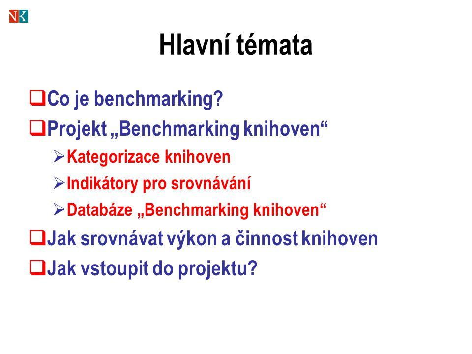 """Hlavní témata  Co je benchmarking?  Projekt """"Benchmarking knihoven""""  Kategorizace knihoven  Indikátory pro srovnávání  Databáze """"Benchmarking kni"""