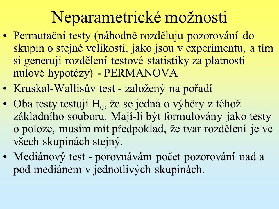 Neparametrické možnosti Permutační testy (náhodně rozděluju pozorování do skupin o stejné velikosti, jako jsou v experimentu, a tím si generuji rozděl