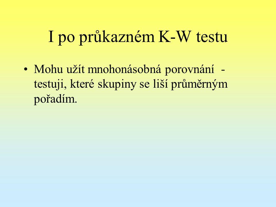I po průkazném K-W testu Mohu užít mnohonásobná porovnání - testuji, které skupiny se liší průměrným pořadím.