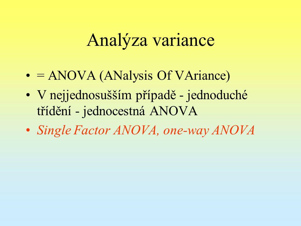 Analýza variance = ANOVA (ANalysis Of VAriance) V nejjednosušším případě - jednoduché třídění - jednocestná ANOVA Single Factor ANOVA, one-way ANOVA