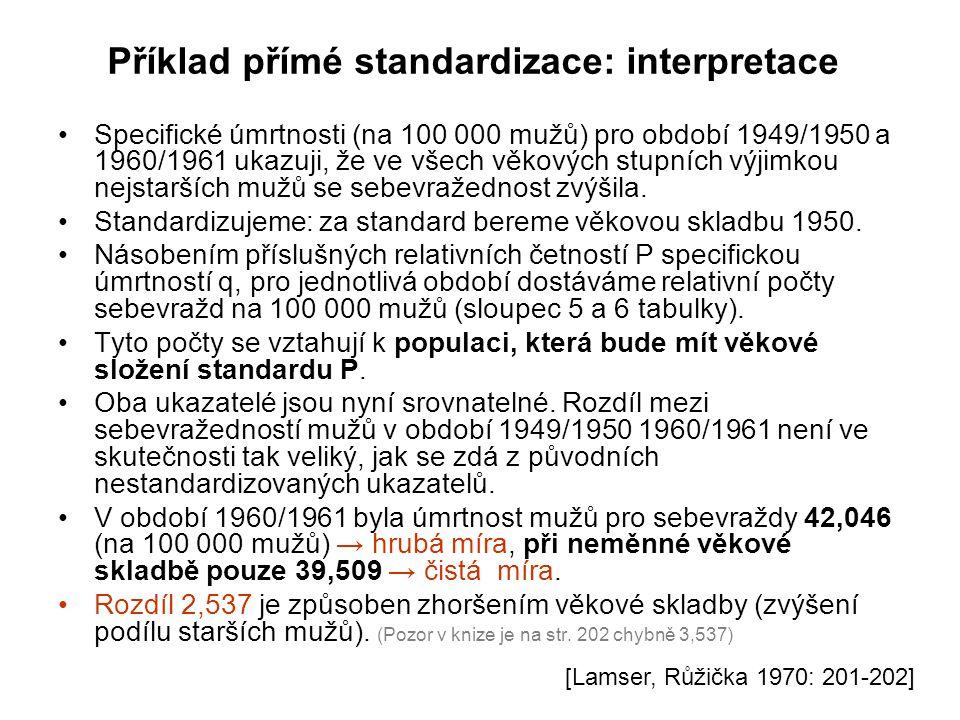 Příklad přímé standardizace: interpretace Specifické úmrtnosti (na 100 000 mužů) pro období 1949/1950 a 1960/1961 ukazuji, že ve všech věkových stupní