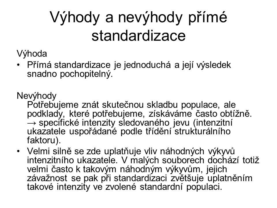 Výhody a nevýhody přímé standardizace Výhoda Přímá standardizace je jednoduchá a její výsledek snadno pochopitelný. Nevýhody Potřebujeme znát skutečno