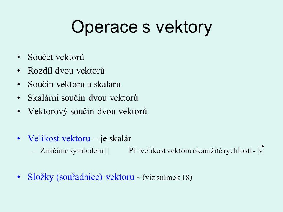 Operace s vektory Součet vektorů Rozdíl dvou vektorů Součin vektoru a skaláru Skalární součin dvou vektorů Vektorový součin dvou vektorů Velikost vekt