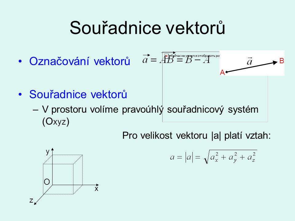 Souřadnice vektorů Označování vektorů Souřadnice vektorů –V prostoru volíme pravoúhlý souřadnicový systém (O xyz ) Pro velikost vektoru |a| platí vzta