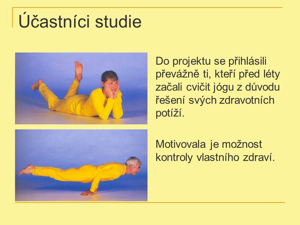 Účastníci studie Do projektu se přihlásili převážně ti, kteří před léty začali cvičit jógu z důvodu řešení svých zdravotních potíží. Motivovala je mož