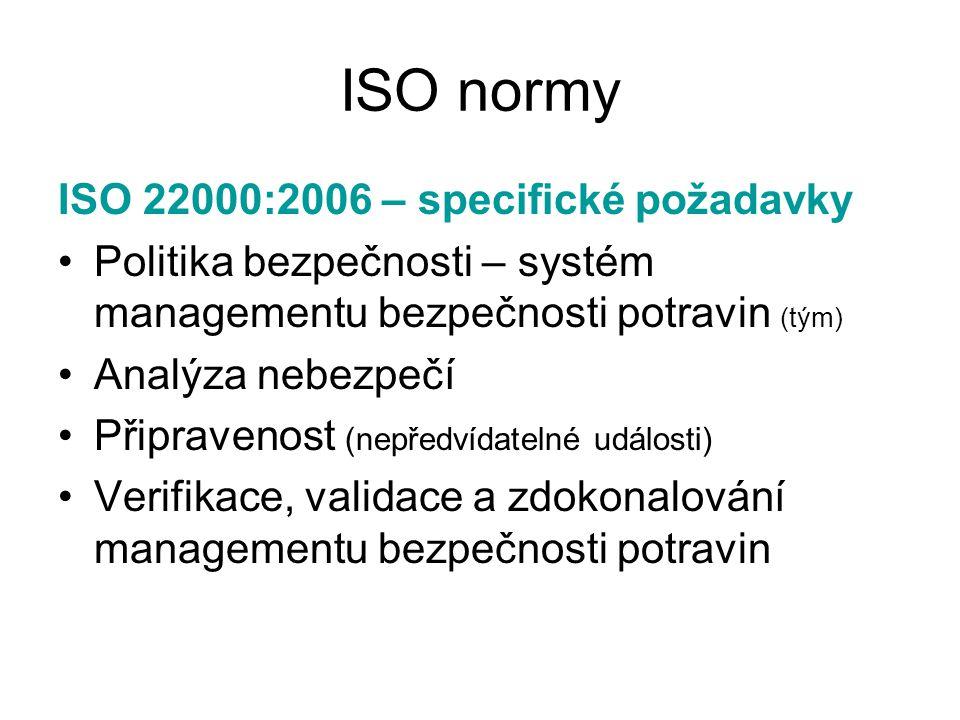 ISO normy ISO 22000:2006 – specifické požadavky Politika bezpečnosti – systém managementu bezpečnosti potravin (tým) Analýza nebezpečí Připravenost (n