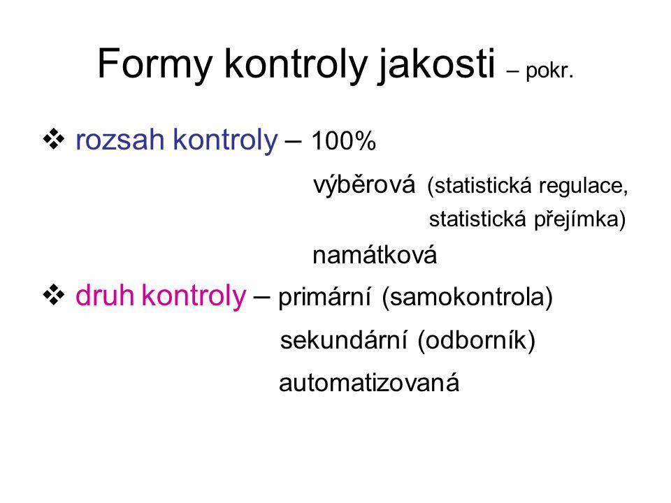 Formy kontroly jakosti – pokr.  rozsah kontroly – 100% výběrová (statistická regulace, statistická přejímka) namátková  druh kontroly – primární (sa