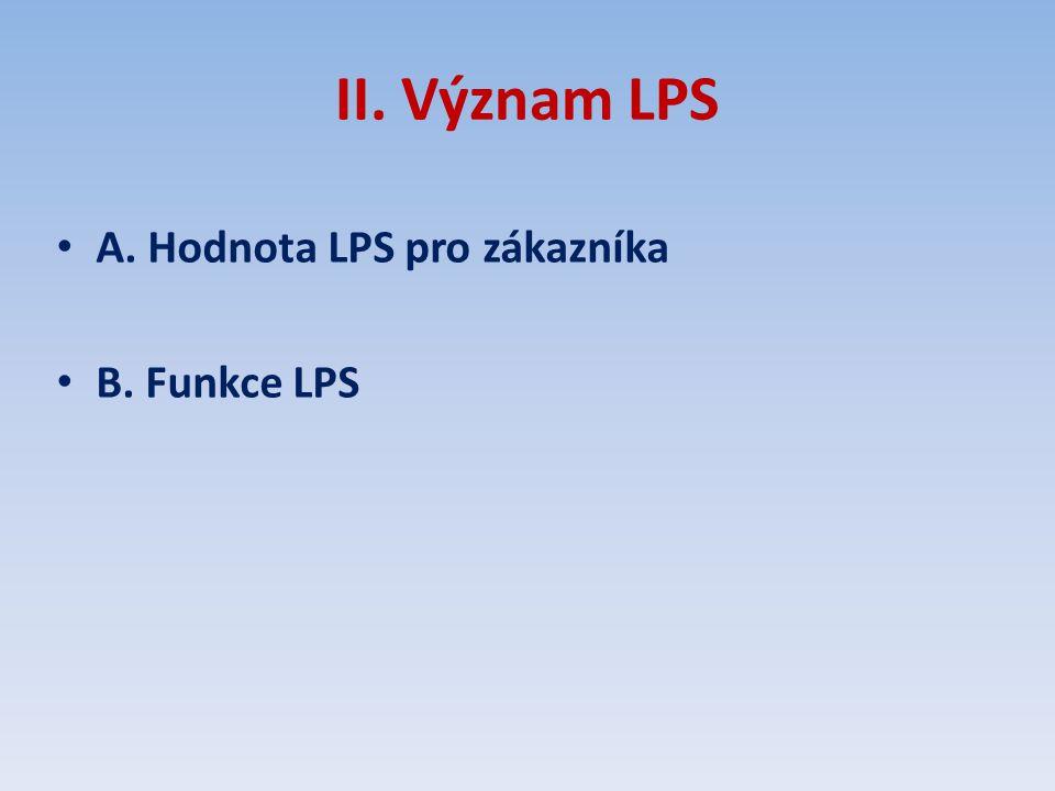 II. Význam LPS A. Hodnota LPS pro zákazníka B. Funkce LPS
