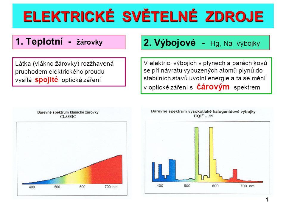 2 PARAMETRY SVĚTELNÝCH ZDROJŮ 1.Elektrický příkon P p ( W ) 2.