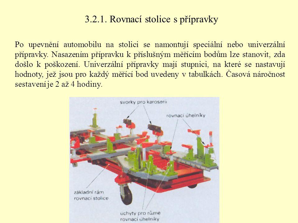 3.2.1. Rovnací stolice s přípravky Po upevnění automobilu na stolici se namontují speciální nebo univerzální přípravky. Nasazením přípravku k příslušn
