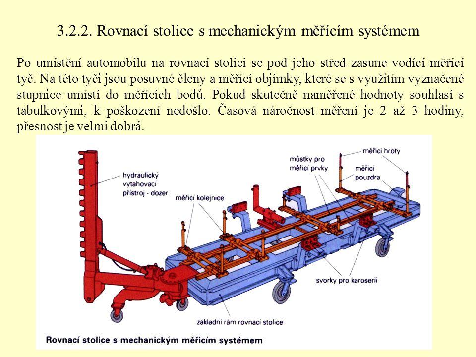 3.2.2. Rovnací stolice s mechanickým měřícím systémem Po umístění automobilu na rovnací stolici se pod jeho střed zasune vodící měřící tyč. Na této ty