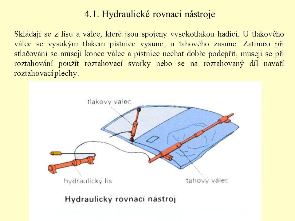 4.1. Hydraulické rovnací nástroje Skládají se z lisu a válce, které jsou spojeny vysokotlakou hadicí. U tlakového válce se vysokým tlakem pístnice vys