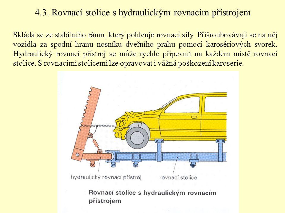 4.3. Rovnací stolice s hydraulickým rovnacím přístrojem Skládá se ze stabilního rámu, který pohlcuje rovnací síly. Přišroubovávají se na něj vozidla z