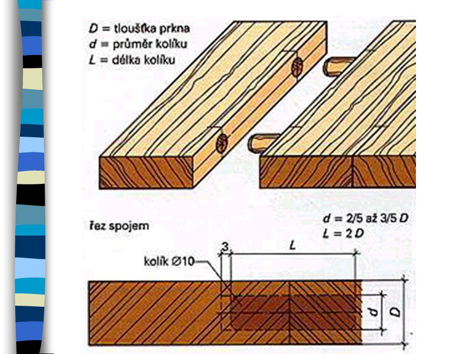 Spojení s vloženým pérem Lepené spáry mohou být zajištěny i dřevěnými péry. Konstrukce odpovídá nelepeným spojům s vloženým pérem. Někdy se jako pomůc