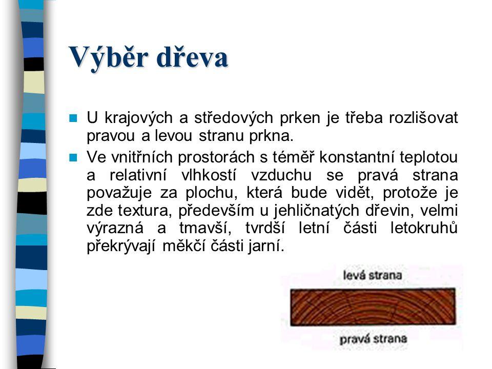 Výběr dřeva Dřevěné díly, které je třeba spojit se mohou skládat z bočních (krajových) prken, středových prken nebo dřeňových prken. U dřeňových prken