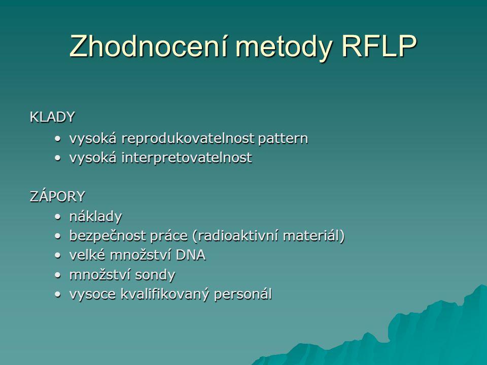 Zhodnocení metody RFLP KLADY vysoká reprodukovatelnost patternvysoká reprodukovatelnost pattern vysoká interpretovatelnostvysoká interpretovatelnostZÁ