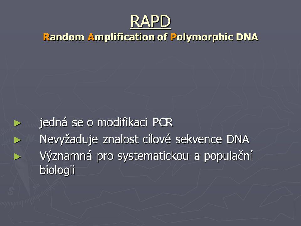 RAPD Random Amplification of Polymorphic DNA ► jedná se o modifikaci PCR ► Nevyžaduje znalost cílové sekvence DNA ► Významná pro systematickou a popul