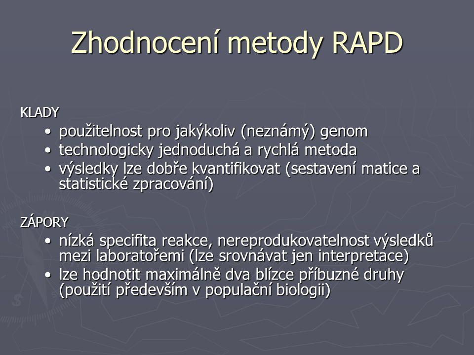 Zhodnocení metody RAPD KLADY použitelnost pro jakýkoliv (neznámý) genompoužitelnost pro jakýkoliv (neznámý) genom technologicky jednoduchá a rychlá me