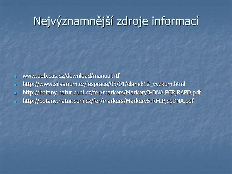 Nejvýznamnější zdroje informací www.ueb.cas.cz/download/manual.rtf www.ueb.cas.cz/download/manual.rtf http://www.silvarium.cz/lesprace/03/01/clanek12_