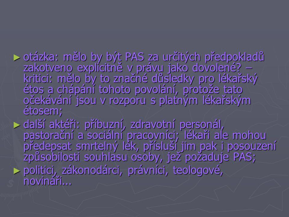 Medicínské aspekty a aspekty étosu povolání ► PAS – pomoc lékařů při sebezabití pacienta nebo toho, kdo hledá pomoc; např.