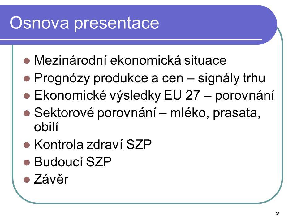 2 Osnova presentace Mezinárodní ekonomická situace Prognózy produkce a cen – signály trhu Ekonomické výsledky EU 27 – porovnání Sektorové porovnání –