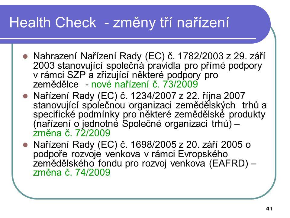 41 Health Check - změny tří nařízení Nahrazení Nařízení Rady (EC) č. 1782/2003 z 29. září 2003 stanovující společná pravidla pro přímé podpory v rámci