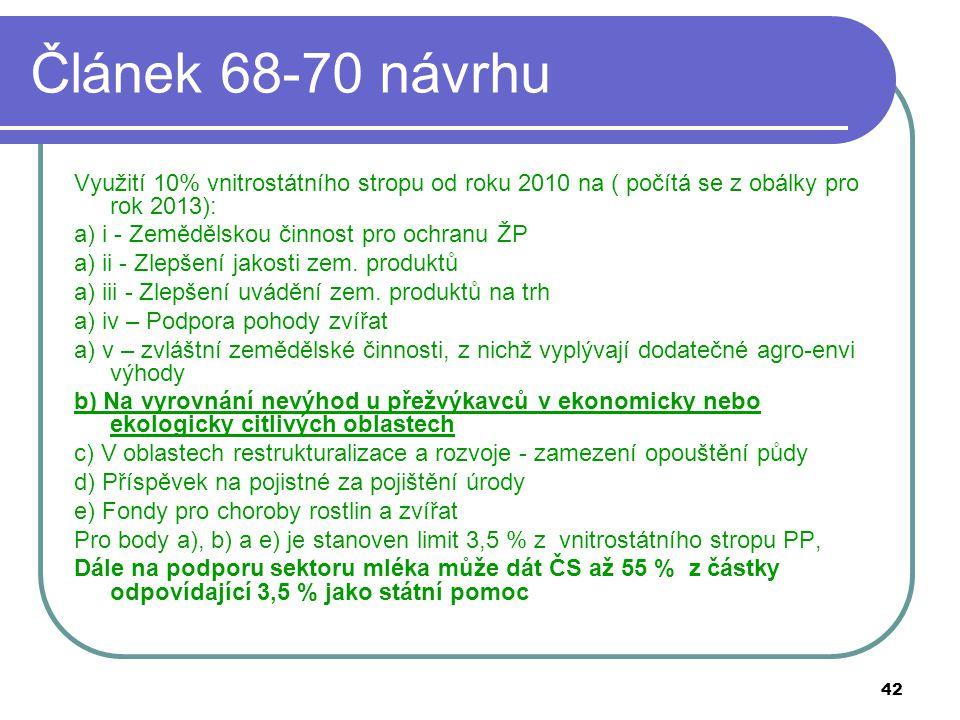 42 Článek 68-70 návrhu Využití 10% vnitrostátního stropu od roku 2010 na ( počítá se z obálky pro rok 2013): a) i - Zemědělskou činnost pro ochranu ŽP