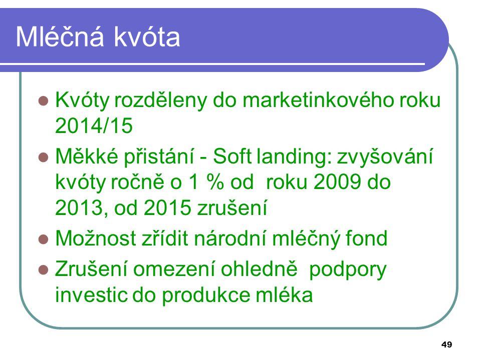 49 Mléčná kvóta Kvóty rozděleny do marketinkového roku 2014/15 Měkké přistání - Soft landing: zvyšování kvóty ročně o 1 % od roku 2009 do 2013, od 201