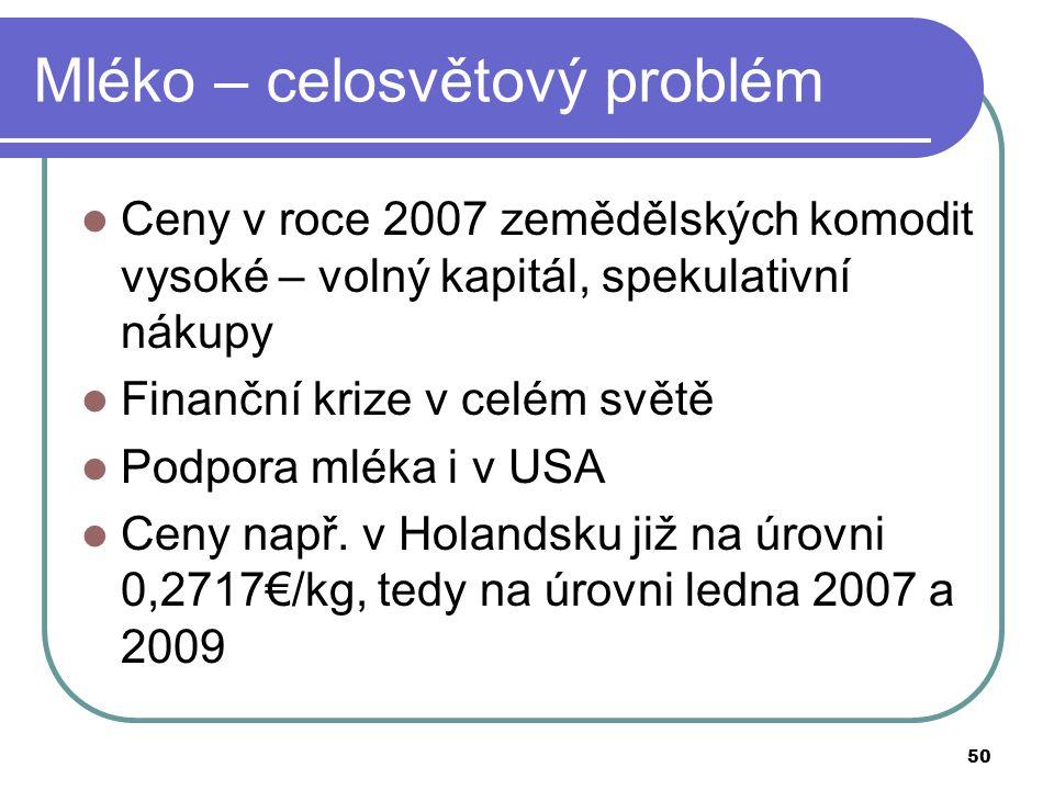 50 Mléko – celosvětový problém Ceny v roce 2007 zemědělských komodit vysoké – volný kapitál, spekulativní nákupy Finanční krize v celém světě Podpora