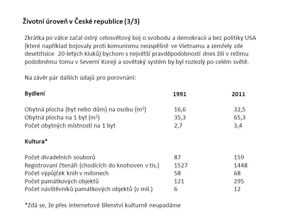 Životní úroveň v České republice (3/3) Zkrátka po válce začal ostrý celosvětový boj o svobodu a demokracii a bez politiky USA (které například bojoval