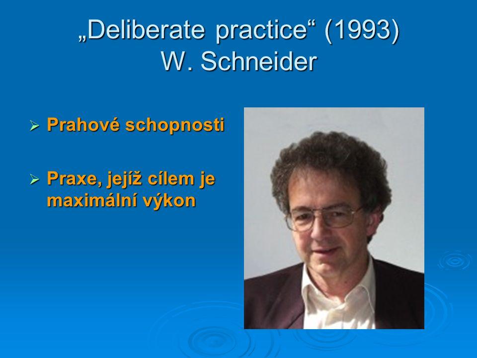 """""""Deliberate practice"""" (1993) W. Schneider  Prahové schopnosti  Praxe, jejíž cílem je maximální výkon"""