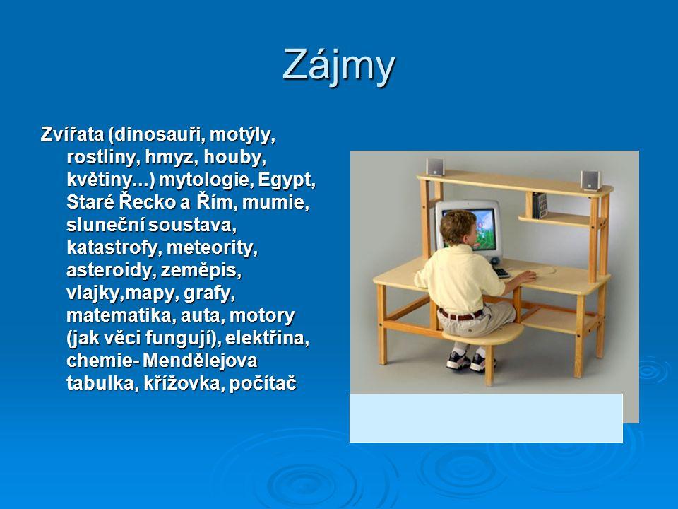 Zájmy Zvířata (dinosauři, motýly, rostliny, hmyz, houby, květiny...) mytologie, Egypt, Staré Řecko a Řím, mumie, sluneční soustava, katastrofy, meteor