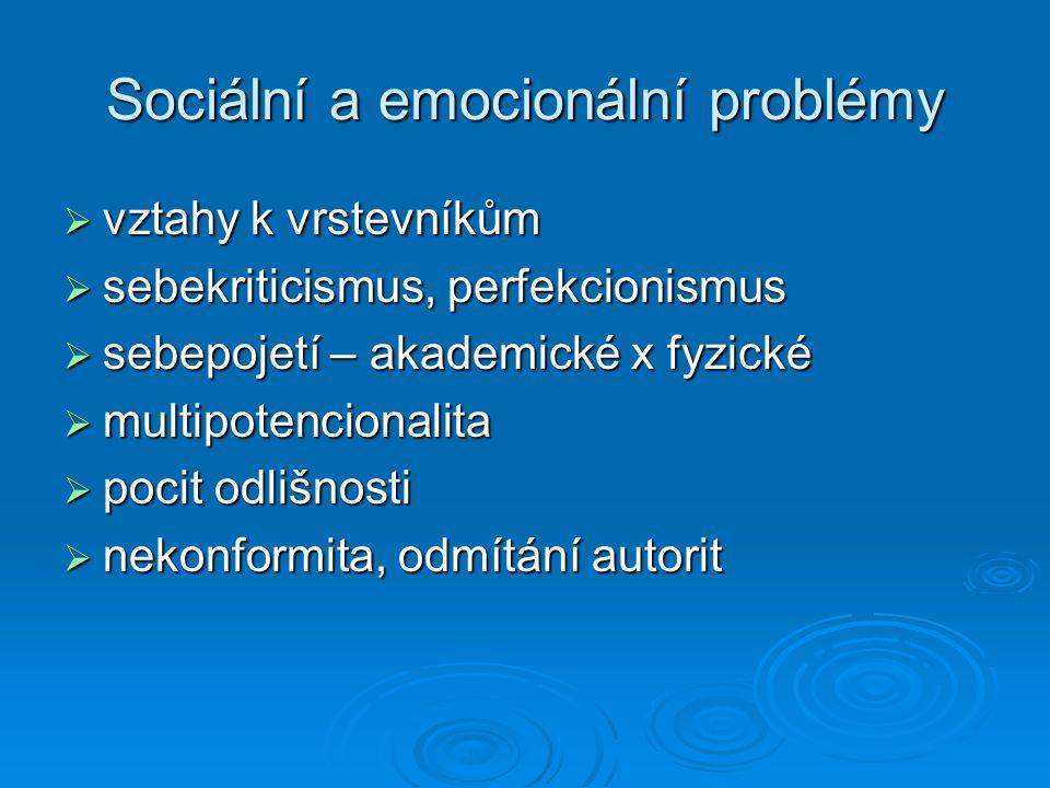Sociální a emocionální problémy  vztahy k vrstevníkům  sebekriticismus, perfekcionismus  sebepojetí – akademické x fyzické  multipotencionalita 