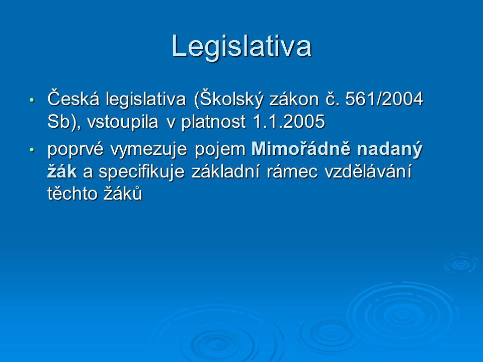 Legislativa Česká legislativa (Školský zákon č. 561/2004 Sb), vstoupila v platnost 1.1.2005 Česká legislativa (Školský zákon č. 561/2004 Sb), vstoupil