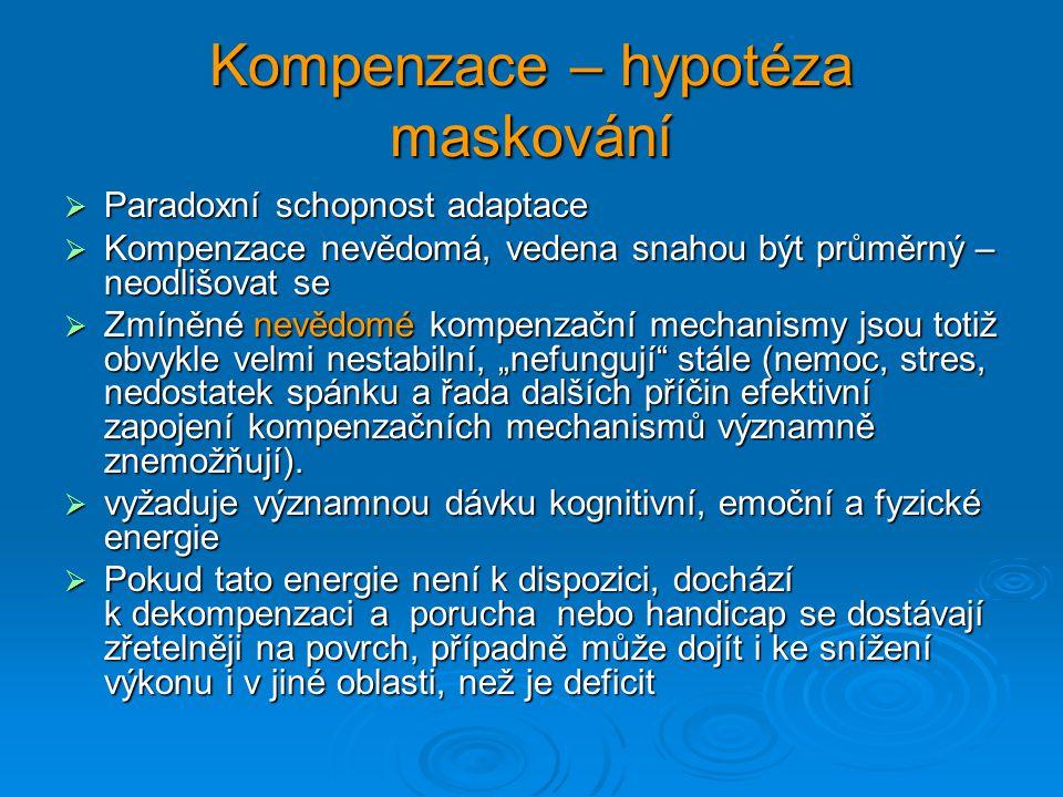 Kompenzace – hypotéza maskování  Paradoxní schopnost adaptace  Kompenzace nevědomá, vedena snahou být průměrný – neodlišovat se  Zmíněné nevědomé k