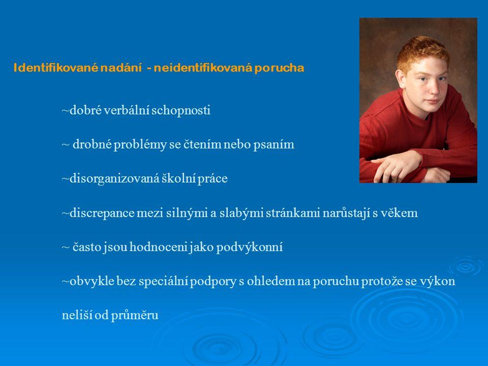 Identifikované nadání - neidentifikovaná porucha ~dobré verbální schopnosti ~ drobné problémy se čtením nebo psaním ~disorganizovaná školní práce ~dis