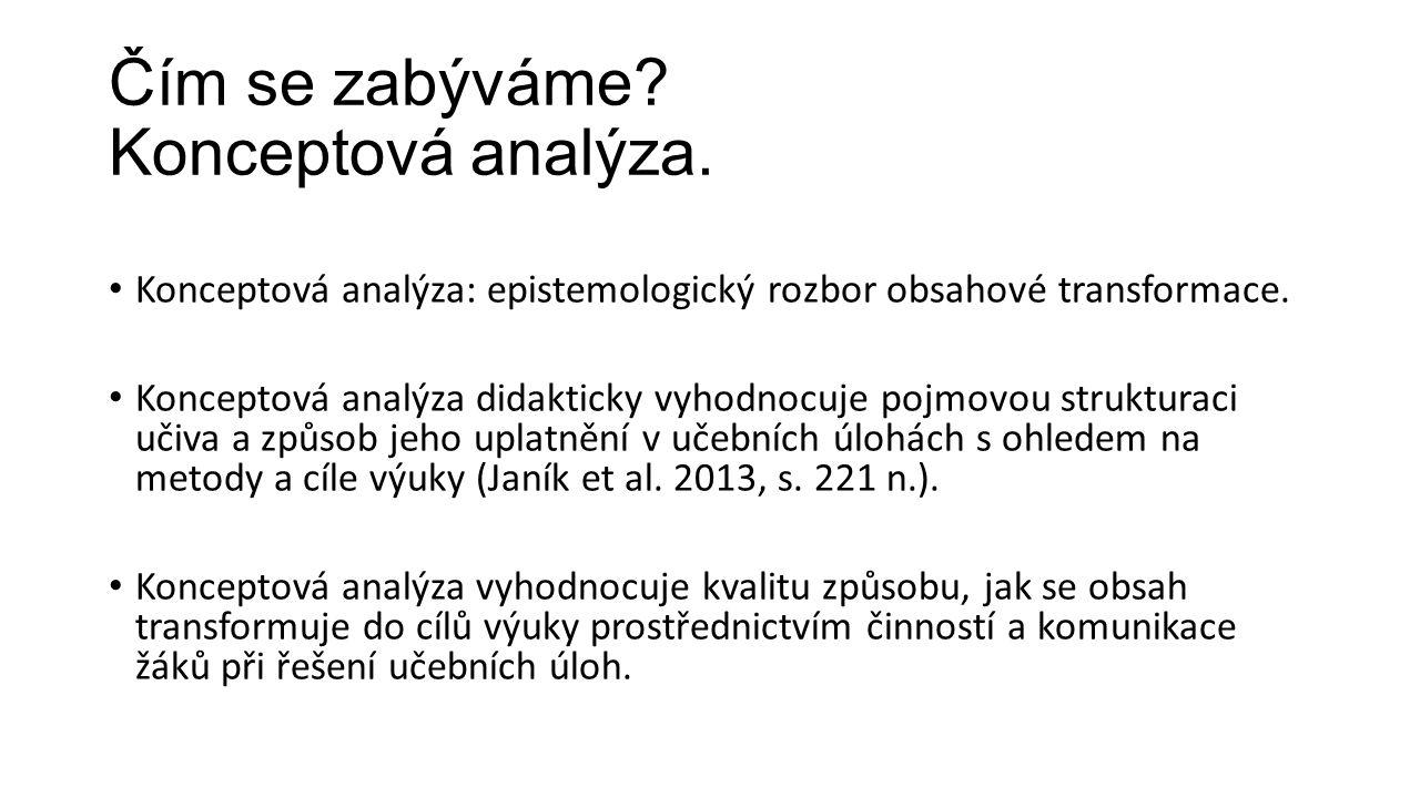 Čím se zabýváme? Konceptová analýza. Konceptová analýza: epistemologický rozbor obsahové transformace. Konceptová analýza didakticky vyhodnocuje pojmo