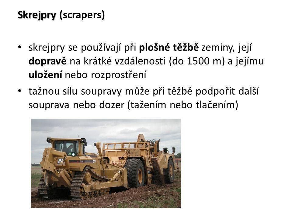 Skrejpry Skrejpry (scrapers) skrejpry se používají při plošné těžbě zeminy, její dopravě na krátké vzdálenosti (do 1500 m) a jejímu uložení nebo rozpr