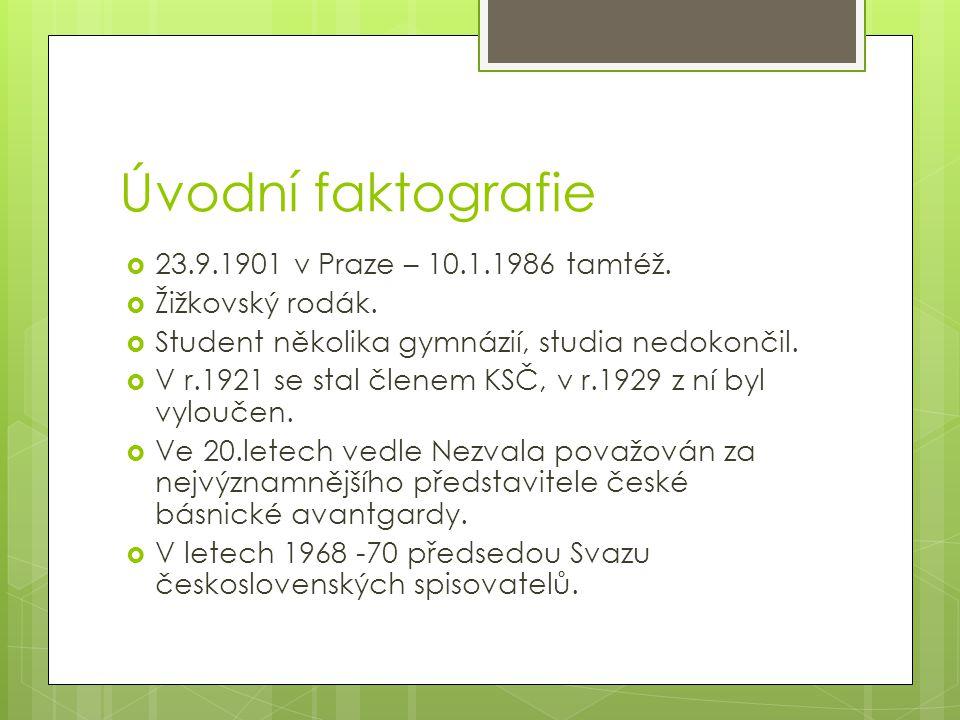 Úvodní faktografie  23.9.1901 v Praze – 10.1.1986 tamtéž.  Žižkovský rodák.  Student několika gymnázií, studia nedokončil.  V r.1921 se stal člene