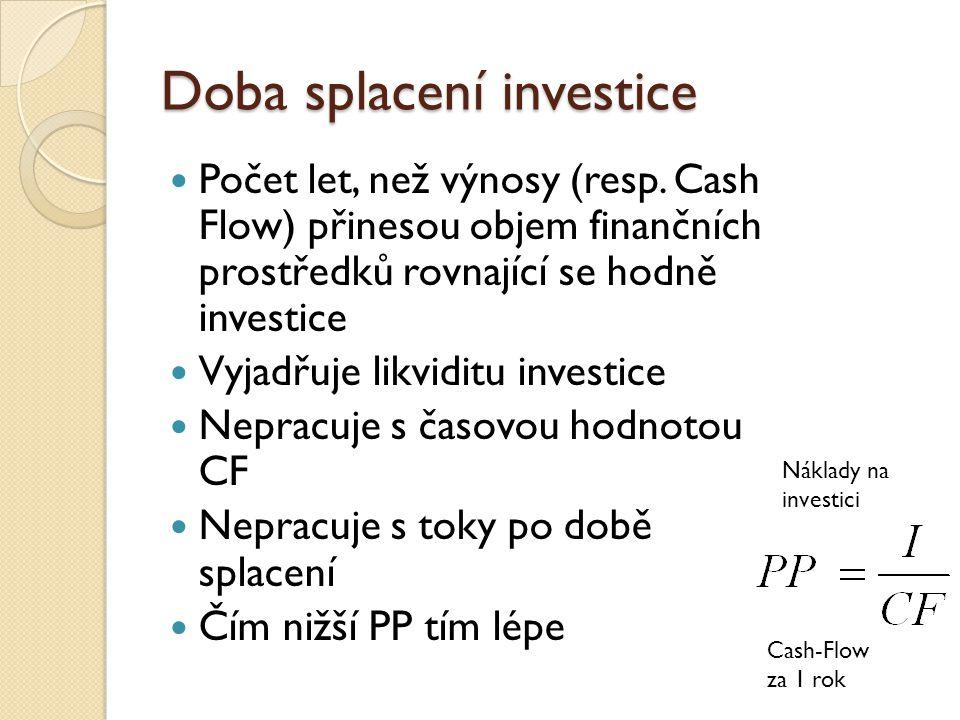 Net present value Čistá současná hodnota CF Hodnota investice Doba životnosti Peněžní příjem v jednotlivých letech Úrok – požadovaná míra výnosnosti T = doba uskutečňování Investice v roce Jednorázová investiční akce Postupná investiční akce