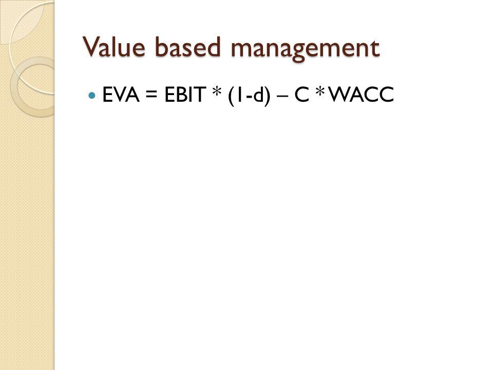 Value based management EVA = EBIT * (1-d) – C * WACC