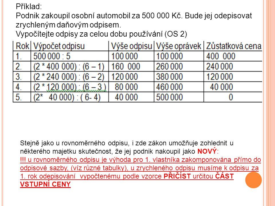 Příklad: Podnik zakoupil osobní automobil za 500 000 Kč. Bude jej odepisovat zrychleným daňovým odpisem. Vypočítejte odpisy za celou dobu používání (O
